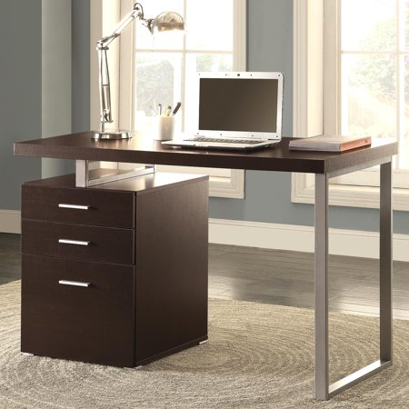 - A Line Furniture Modern Design Home Office Cappuccino Writing/ Computer Desk with Drawers and File Cabinet
