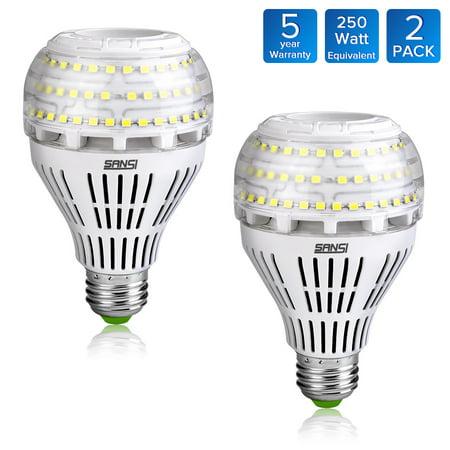 250 Ceramic (27W (250 Watt Equivalent) A21 Omni-directional Ceramic LED Light Bulbs, 4000 Lumens, 5000K Daylight, E26 Medium Screw Base Floodlight Bulb, Home Lighting, 5-year Warranty, Non-dimmable, SANSI (2 PACK) )