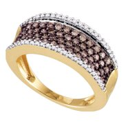 10kt Rose Gold Womens Round Cognac-brown Colored Diamond Band Ring 3/4 Cttw