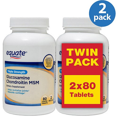 Equate Triple Strength Glucosamine Chondroitin MSM Tablets, 80 Ct , 2 pk
