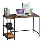 Reversible Computer Desk with 2 Shelves, Strengthened Frame Writing Desk for Home Office