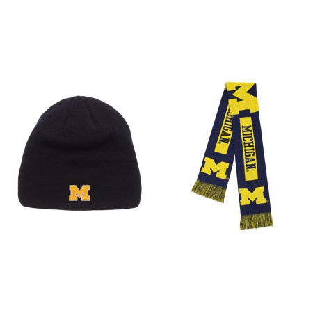 5bc4cf9464d NCAA Michigan Wolverines Big Logo Scarf And Edge Beanie Hat 2 Pack Bundle -  Walmart.com