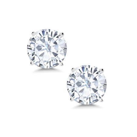 Charles & Colvard 1.50 cttw Round Moissanite Stud Earrings in 14K White Gold