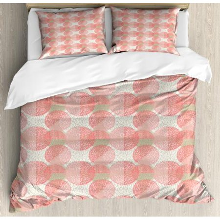 King Dash Cover (Abstract King Size Duvet Cover Set, Overlapped Circles Pattern with Dashed Lines Digital Image Print, Decorative 3 Piece Bedding Set with 2 Pillow Shams, Pale Sepia Coral and White, by Ambesonne)
