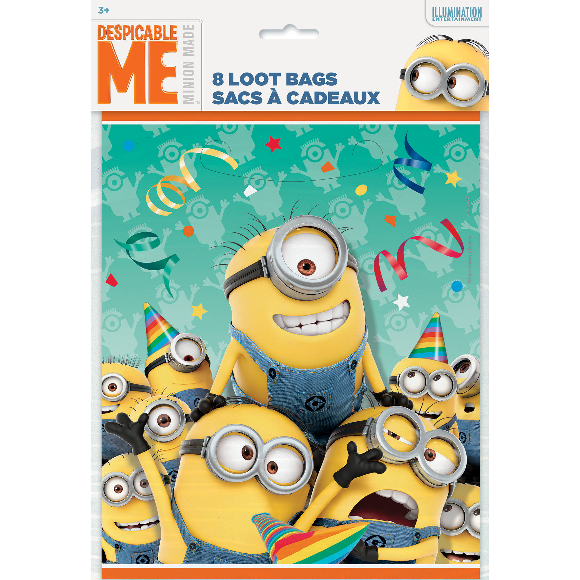 Despicable Me Minions 8 Count Plastic Loot Bags Paper Goods Party Supplies
