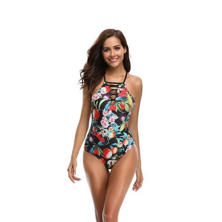 de9c004fa47 Cover ups for Swimwear, Women's Sexy One Piece Swimsuits, Criss Cross Lace  Up High Waisted Swimsuits, Low Cut Halter Push up Bikini, Print Monokini  Tummy ...