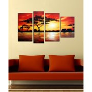 The Lighting Store 'African Scenery' 4-piece Gallery-wrapped Hand Painted Canvas Art Set