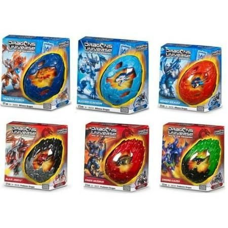 Alien Eggs (Dragons Universe Mega Bloks Alien Egg Action Figure Toy Dragon Rider Thunder Vozeus / Blizzard Glaragon / Assault Excaliga / Blaze Jinryu / Chaos Orzorus / Chrono Kaizer (Collector Set)