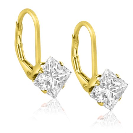 Gold Plated Sterling Silver Square Princess Cut 5x5mm White CZ Leverback Dangling Earrings ()
