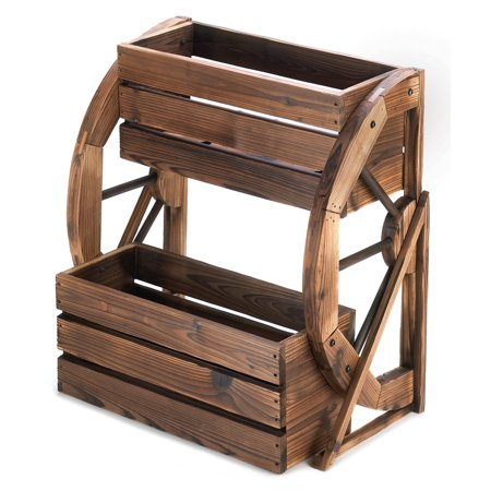 Wood Planter Boxes, Large Outdoor Planters, Wagon Wheel Double-tier Planter