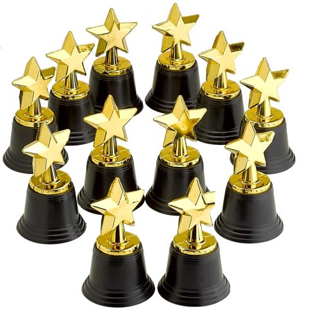 Academy Awards Party Decorations (4.5 Inches Plastic Golden Star Trophy - 12 Pieces Achievement Prize Award - Perfect Special Recognition Award in School, Sports and Office, Carnival Victors, Party Favors and Accessories,)