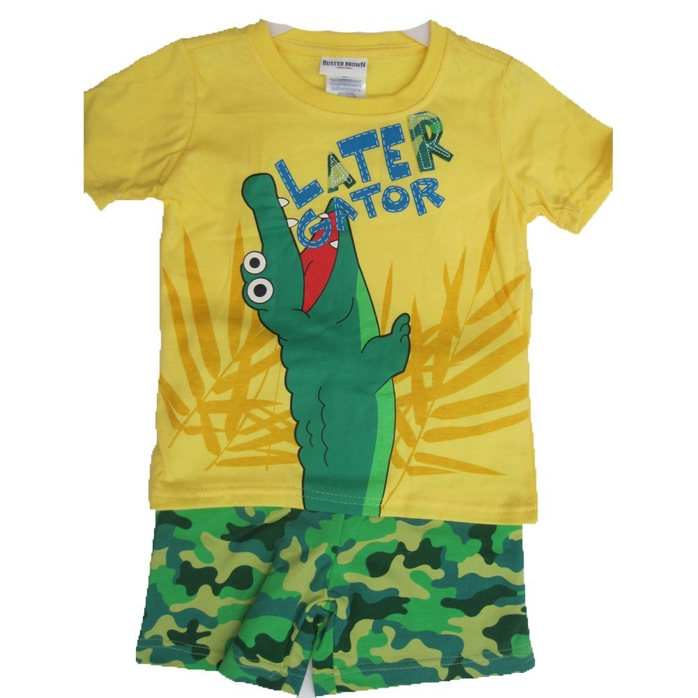 Buster Brown Little Boys Yellow Later Gator Print Camo 2 Pc Shorts Set 2T-4T