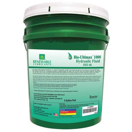 Renewable Lubricants Hydraulic Oil  Bio  Ultimax 1000  5 Gal   Iso 46  81014