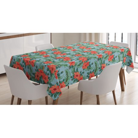 Luau Tablecloth, Exotic Summer Bouquet Design with Hibiscus Flourish Aloha Botanical, Rectangular Table Cover for Dining Room Kitchen, 52 X 70 Inches, Pale Blue Dark Coral Green, by Ambesonne