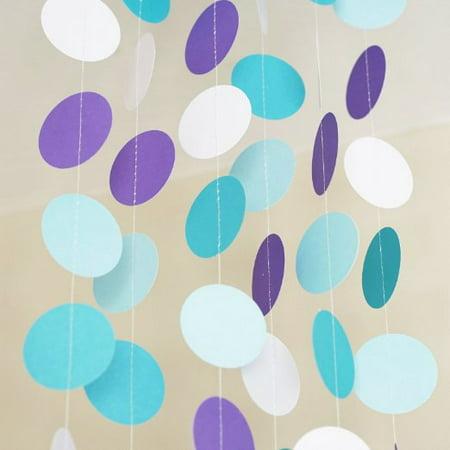 Blue Aqua Purple Winter Theme Circle Dots Paper Garland Banner 10 FT - Blue Circle Dot