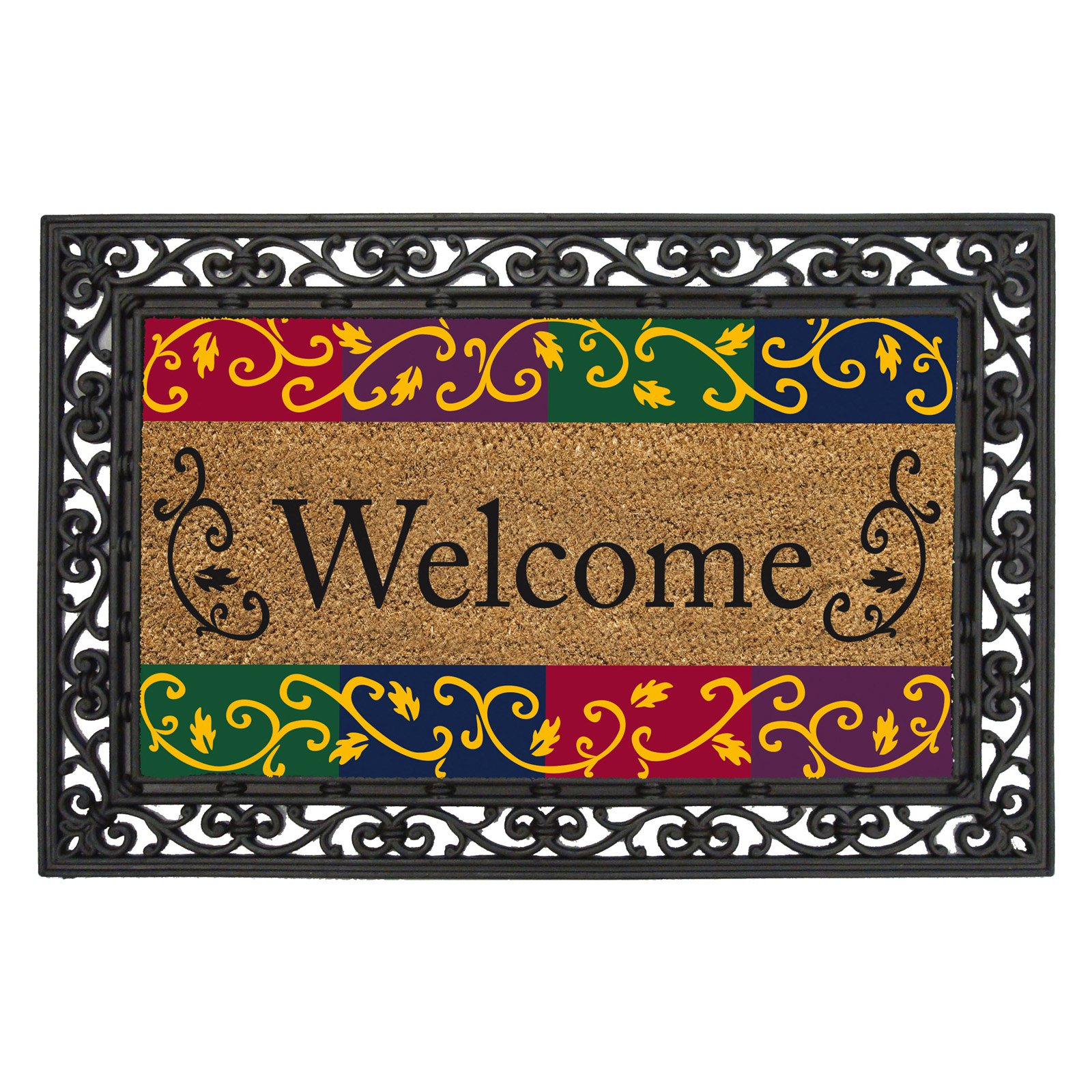 Evergreen Flag Coir Door Mat Welcome Flourish