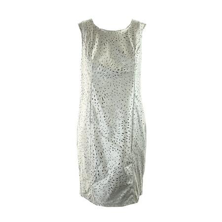 Womens Metallic Leather - Thalia Sodi Silver Faux-Leather Metallic Sheath Dress 8