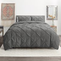 3 Piece Pinch Pleated Duvet Cover Set with Button Closure & Corner Ties - 100% Soft Hypoallergenic Microfiber Pintuck Decorative Comforter Cover, Available in King Queen Full Twin and California King