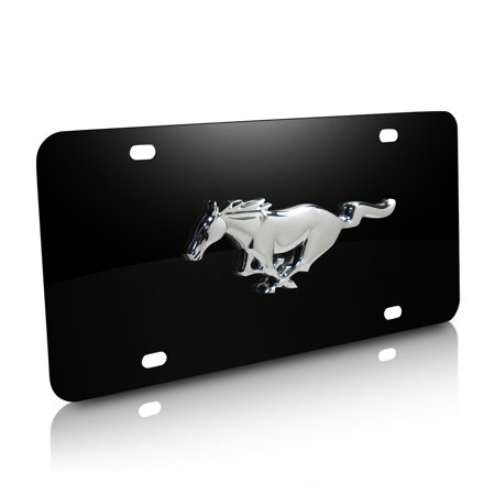 Ford Mustang 3D Pony Black Stainless Steel License Plate