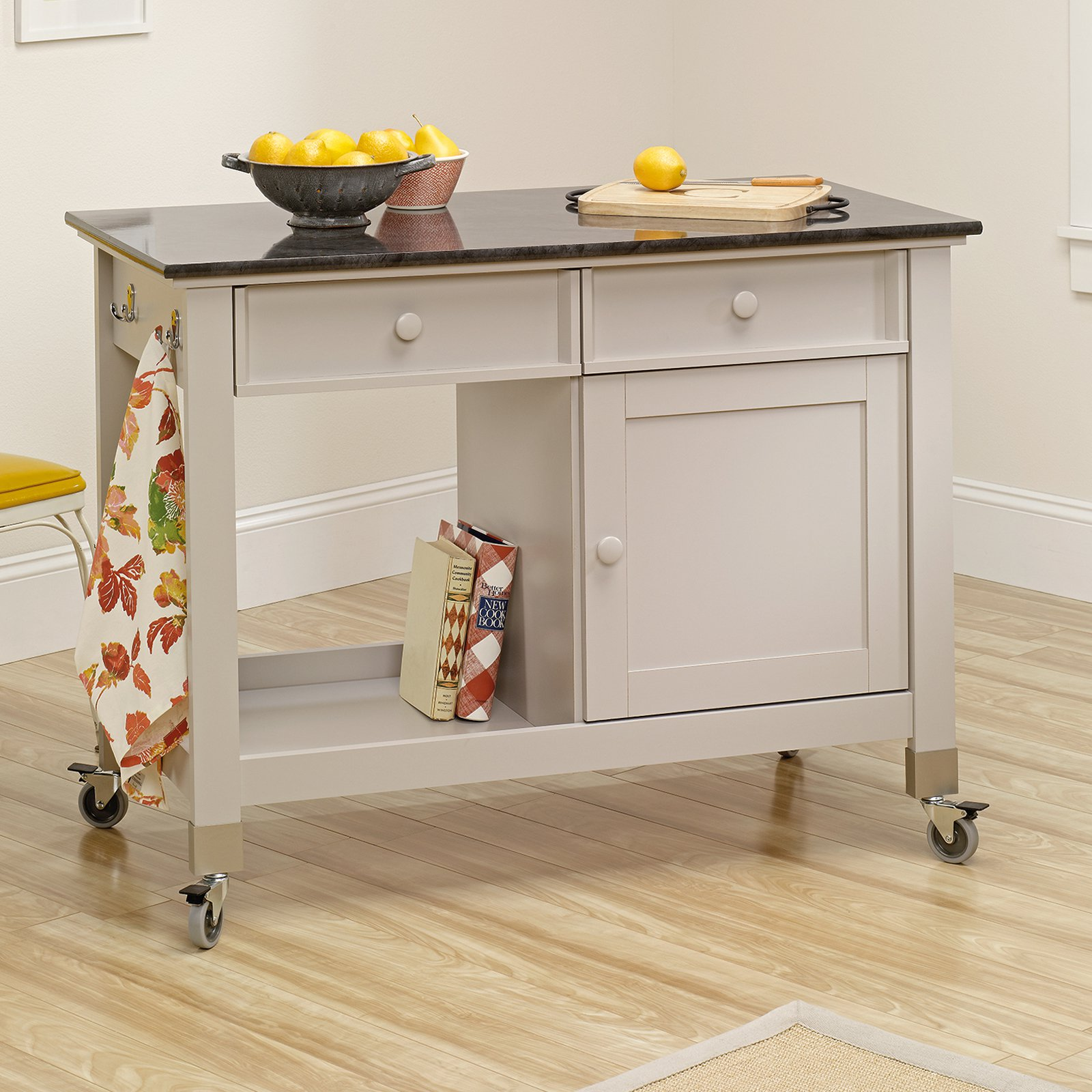 Sauder Cottage Collection Mobile Kitchen Island - Cobblestone Finish
