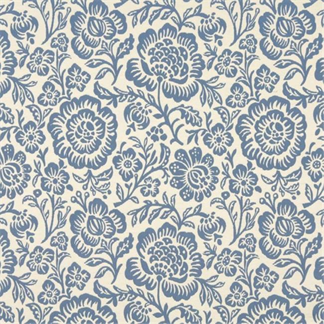 Designer Fabrics F404 54 in. Wide Blue And Beige Floral Matelasse Reversible Upholstery Fabric