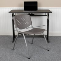 Flash Furniture HERCULES Series 880 lb. Capacity Gray Plastic Stack Chair with Titanium Gray Powder Coated Frame