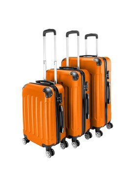 UBesGoo 3 Pieces Travel Luggage Set Bag ABS Trolley Carry On Suitcase Orange