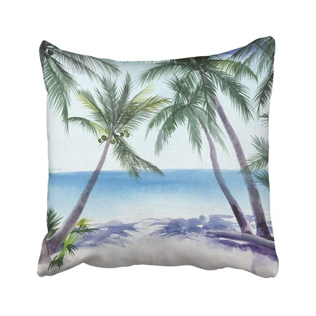 BPBOP Black Beach Tropical Resort View With The Seashore And Coconut Palms Blue Tree Scene Pillowcase Pillow Cushion Cover 16x16 inches - Tropical Scenes