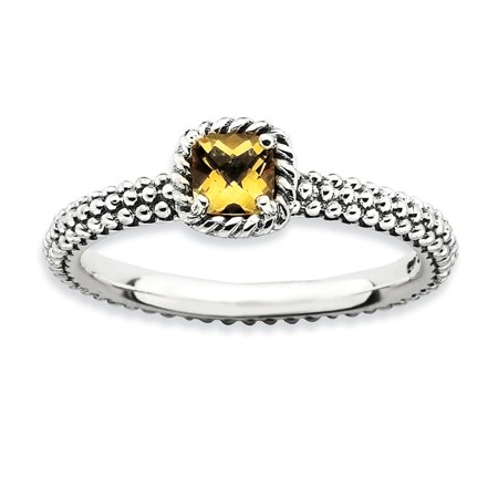 Sterling Silver Checker-Cut Simulated Citrine Antiqued Ring - Size 6 - Ring Eraser
