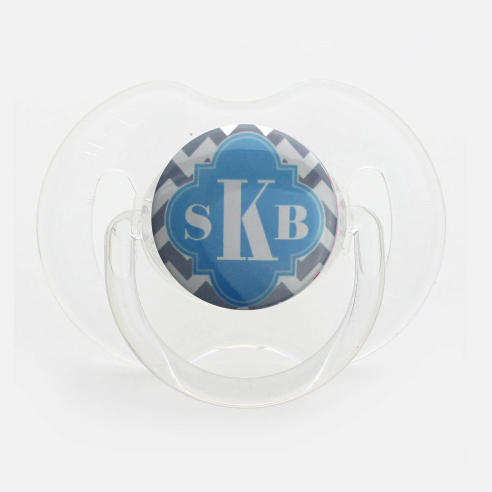 Personalized Monogram Grey and Light Blue Pacifier