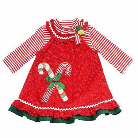 Rare Too Infant Toddler Girls Red Polka Dot Christmas Jumper Candycane Dress](Rare Too Christmas Dress)