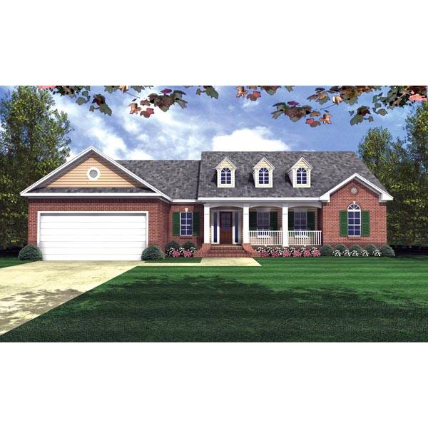 TheHouseDesigners-5749 Country House Plan with Basement Foundation (5 Printed Sets)