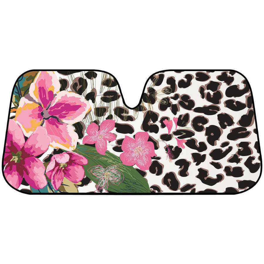 BDK Flower Leopard Sunshade, Pink Hibiscus Orchid, Folding Accordion with Anti-Glare Auto Shade