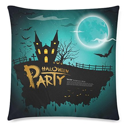 ZKGK Happy Halloween Party Castle Bat Harvest Home Decor Pillowcase 18 x 18 Inches,Moon Night House Pillow Cover Case Shams Decorative](Castle Halloween Party)