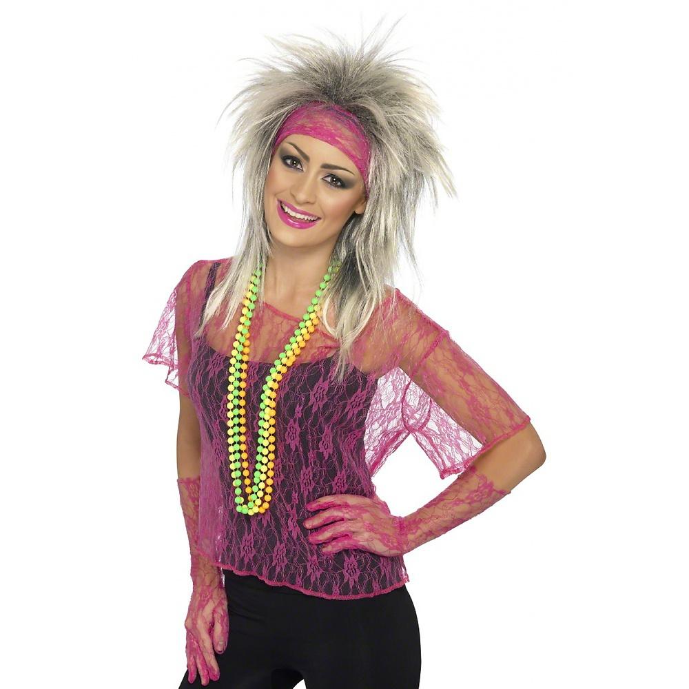 Lace Net Vest, Gloves and Headband Adult Costume Accessory Neon Orange - Standard