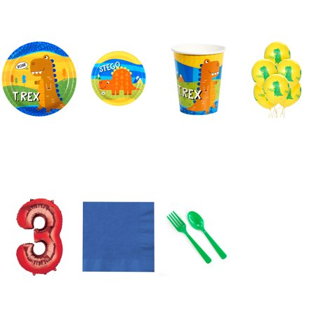 T-Rex Dinosaur Party Supplies Party Pack For 16 With Red #3 Balloon - Dinosaur Birthday Party Supplies