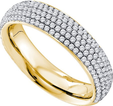 14K Yellow Gold 0.76ctw Simple Shiny Pave Diamond 5 Skinny Row Fashion Band Ring