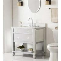 Southern Enterprises Mirage Mirrored Single Marble Top Bathroom Vanity