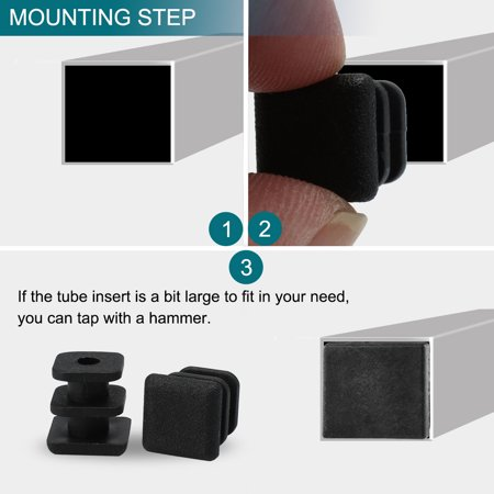 "Square Tube Insert Furniture Floor Protector for 0.28"" to 0.35"" Inner Size 10pcs - image 3 de 7"