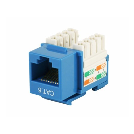 Connection Blocks 110 Punch - Monoprice Cat6 Punch Down Keystone Jack - Blue | 110 Type IDC, 90 Degree Connection