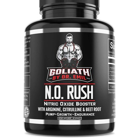 Goliath by Dr. Emil N.O. Rush Nitric Oxide Supplement with L Arginine, L Citrulline Malate & Beet Root - for Muscle Growth, Vascularity &