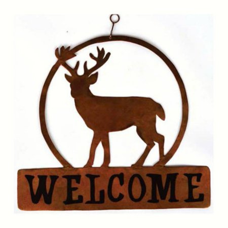 Gift Essentials Deer Round Welcome Sign Decor