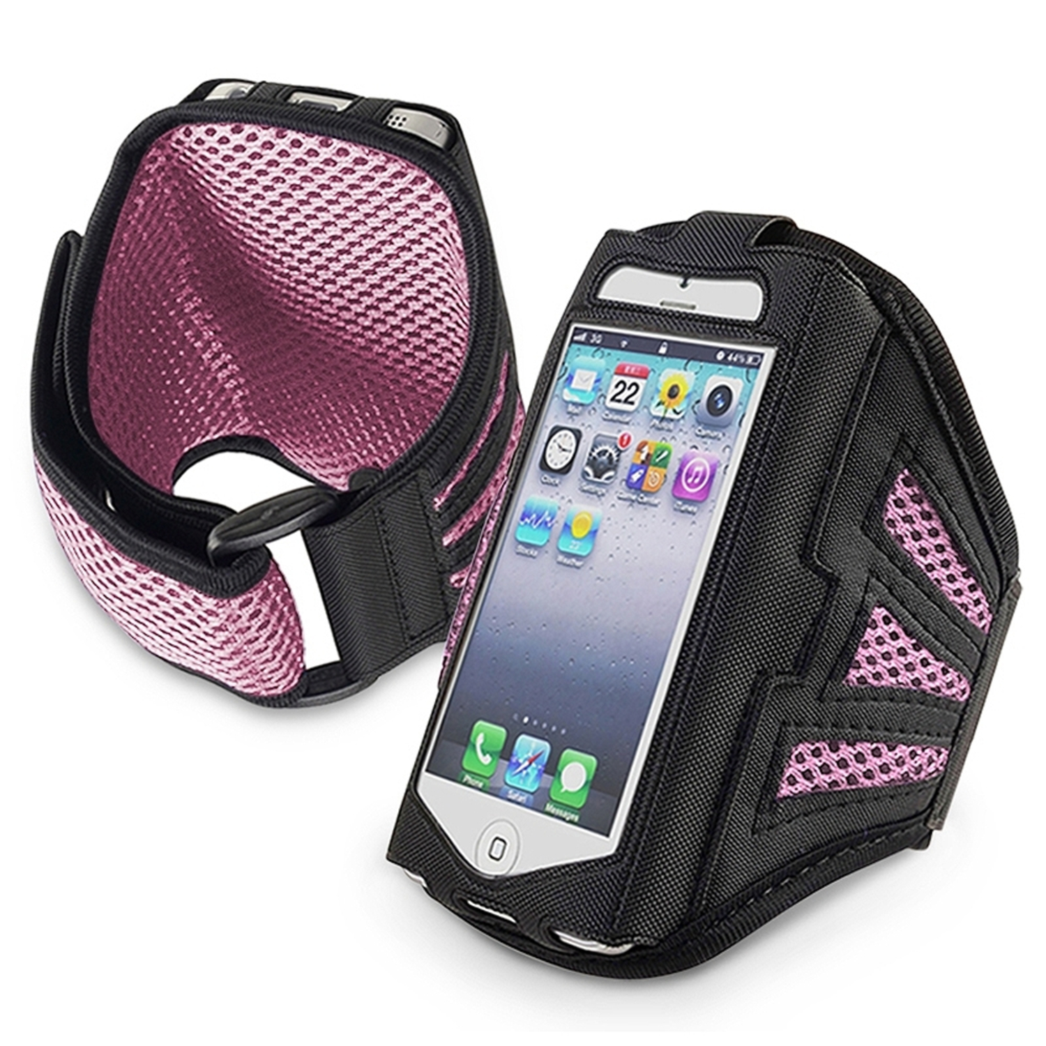 Insten Sports ArmBand Phone Holder Running Exercise Case Pouch For iPhone SE 5 5S 5C iPod Touch 6th 6 5th Gen Pink/Black
