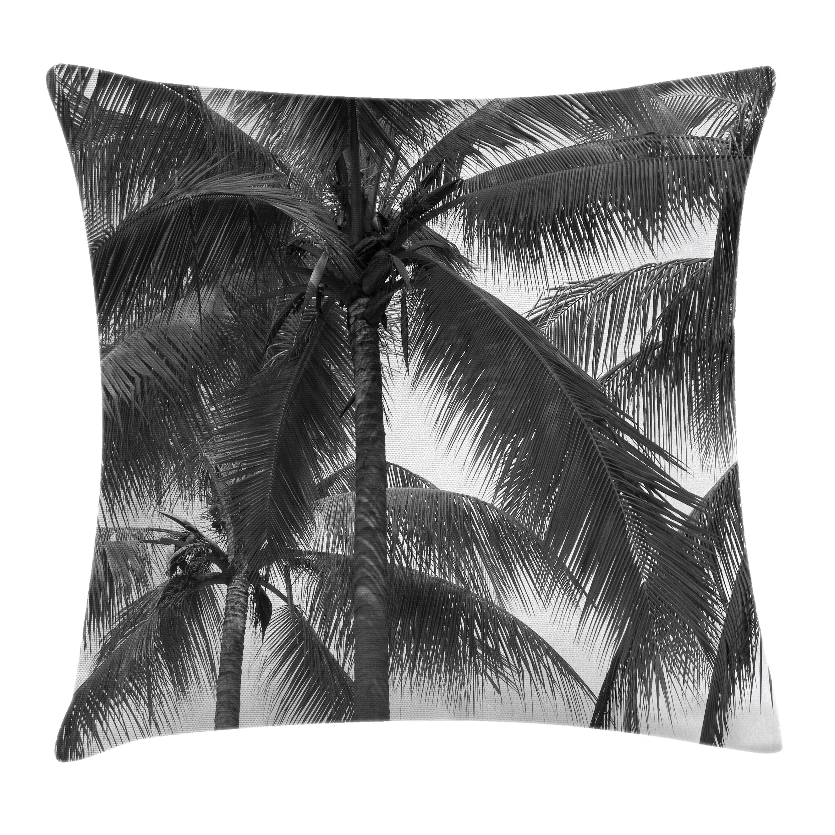 Palm Tree Decor Throw Pillow Cushion Cover, Palm Tree Silhouette Exotic Plant on Dark Thema Foliages Relax in Nature Image, Decorative Square Accent Pillow Case, 24 X 24 Inches, Black, by Ambesonne