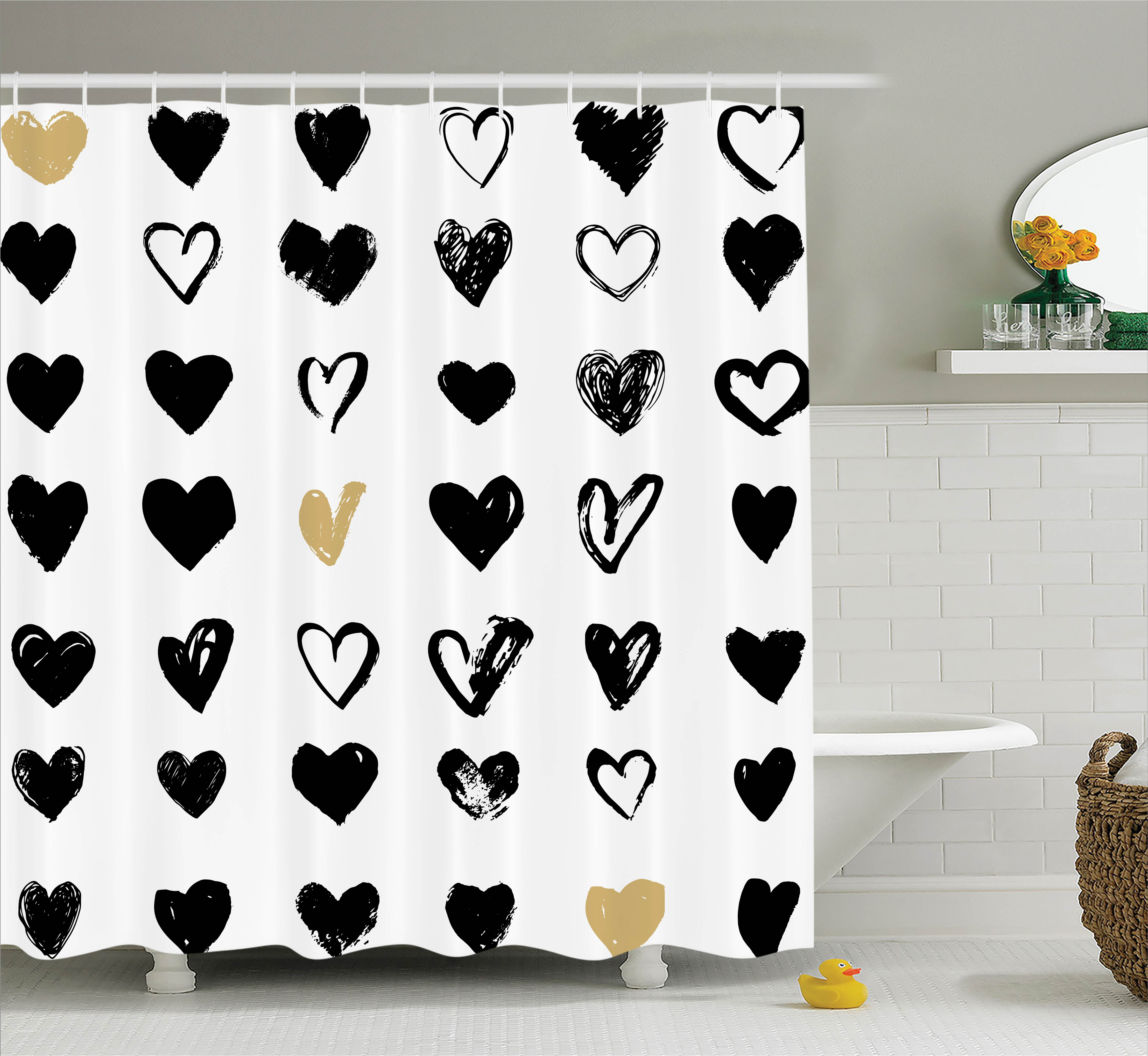 Love Shower Curtain Set, Small Heart Icons Let Me Love You Stylized Hipster's Liking Spouse Couples Art Design, Bathroom Decor, Tan Black White, by Ambesonne