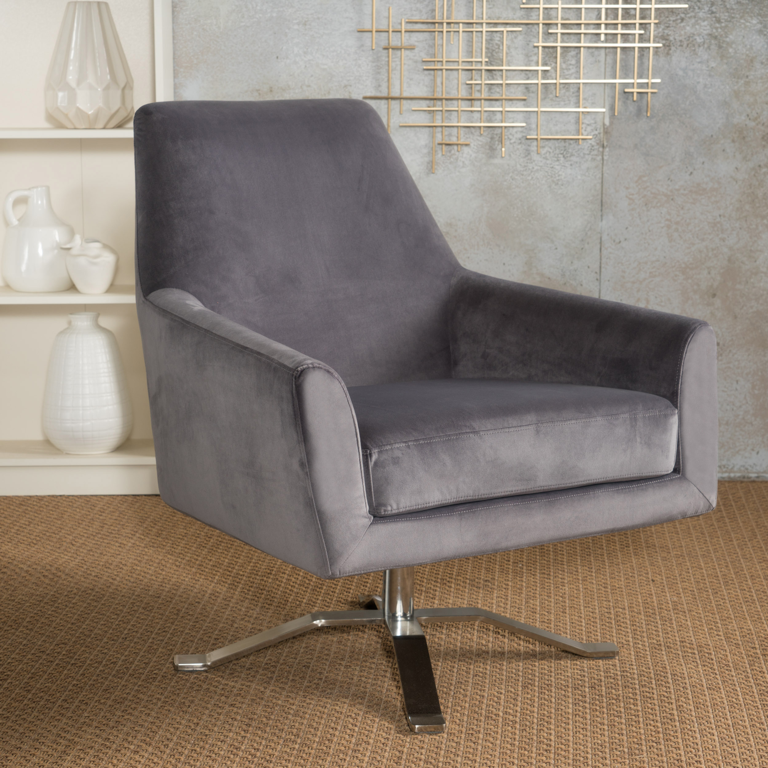Noble House Ellie Grey Velvet Swivel Club Chair