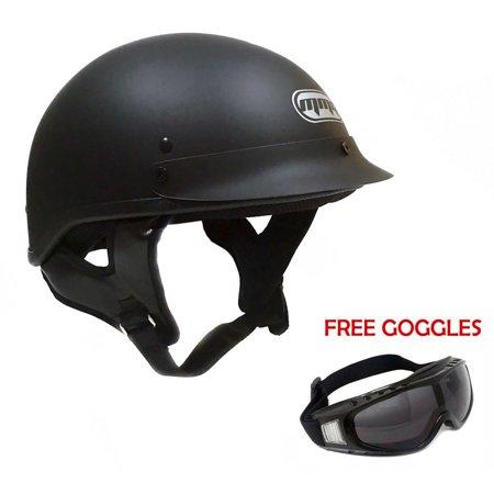 Motorcycle Half Helmet Cruiser DOT Street Legal – Flat Matte Black (Large)