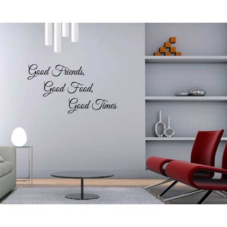 Good Friends Food Times Wall Decal Thanksgiving Quote Kitchen Sticker Fall Dining Room Decor Sign Art Gd43