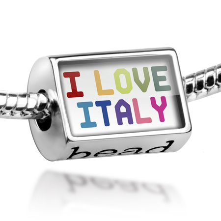 - Bead I Love Italy ,Colorful Charm Fits All European Bracelets
