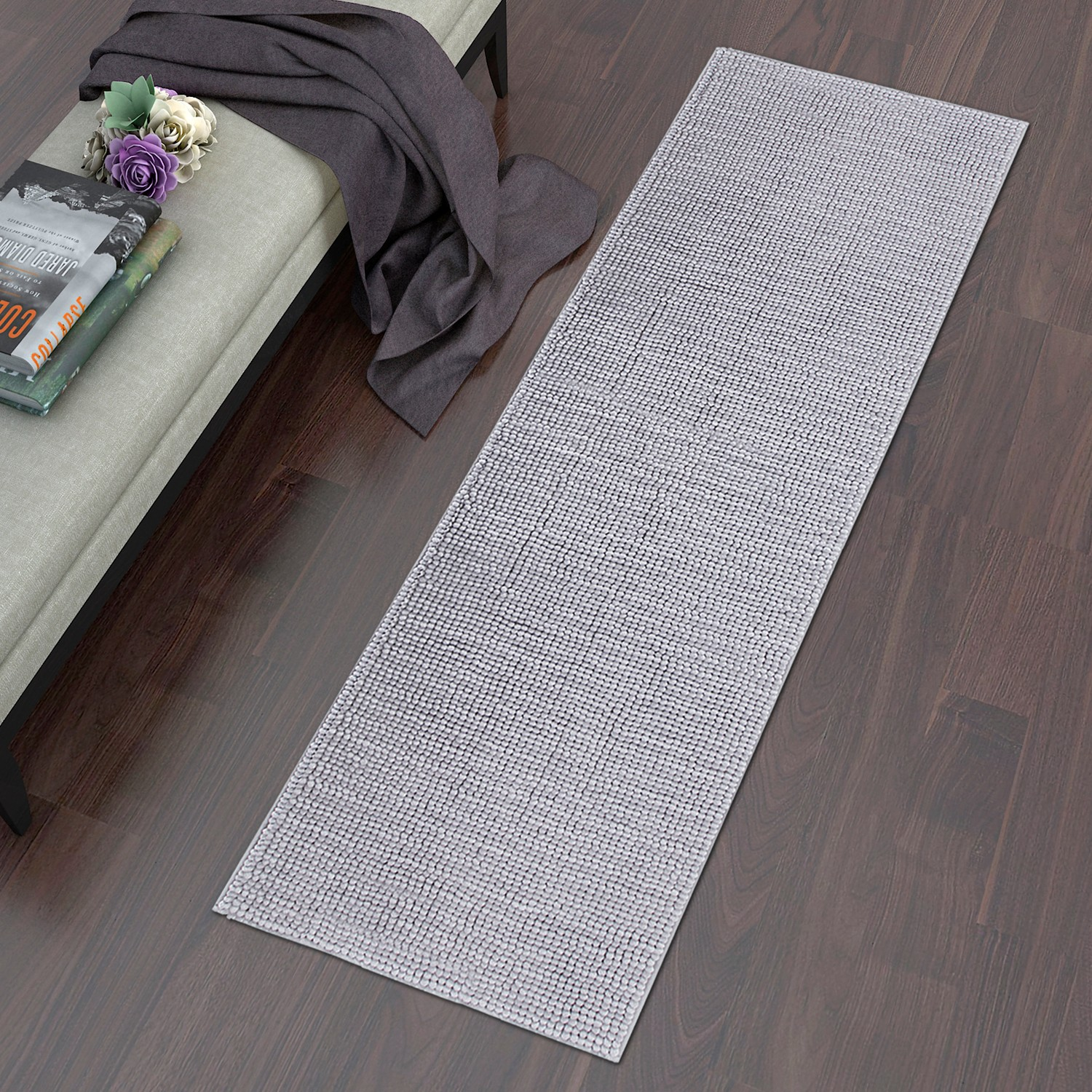 "Lifewit 70"" x 25"" Area Bathroom Mat Runner Rug Living Room Machine Washable Shag Rug Grey"